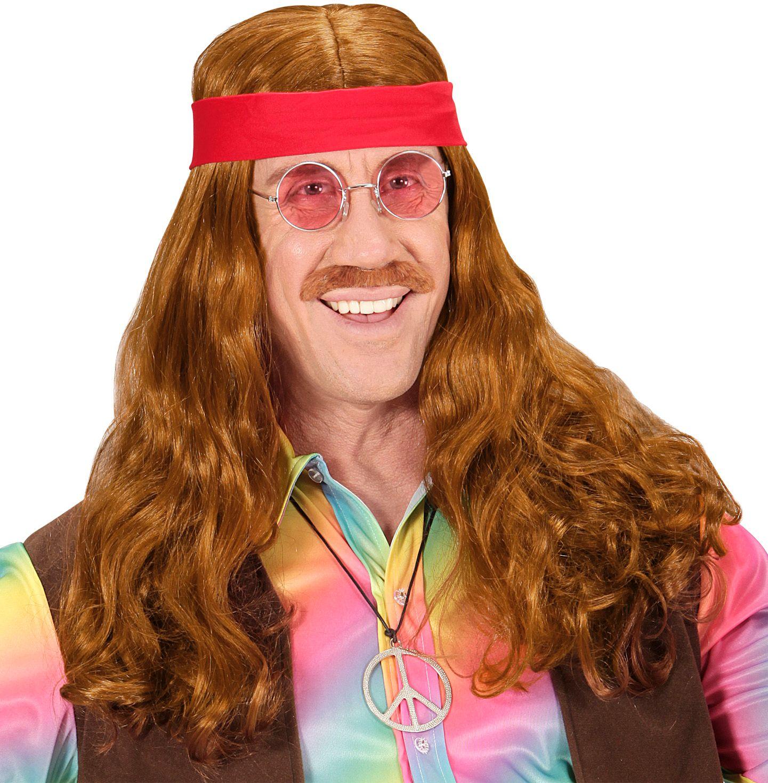Bruine hippie pruik met snor en rode hoofdband