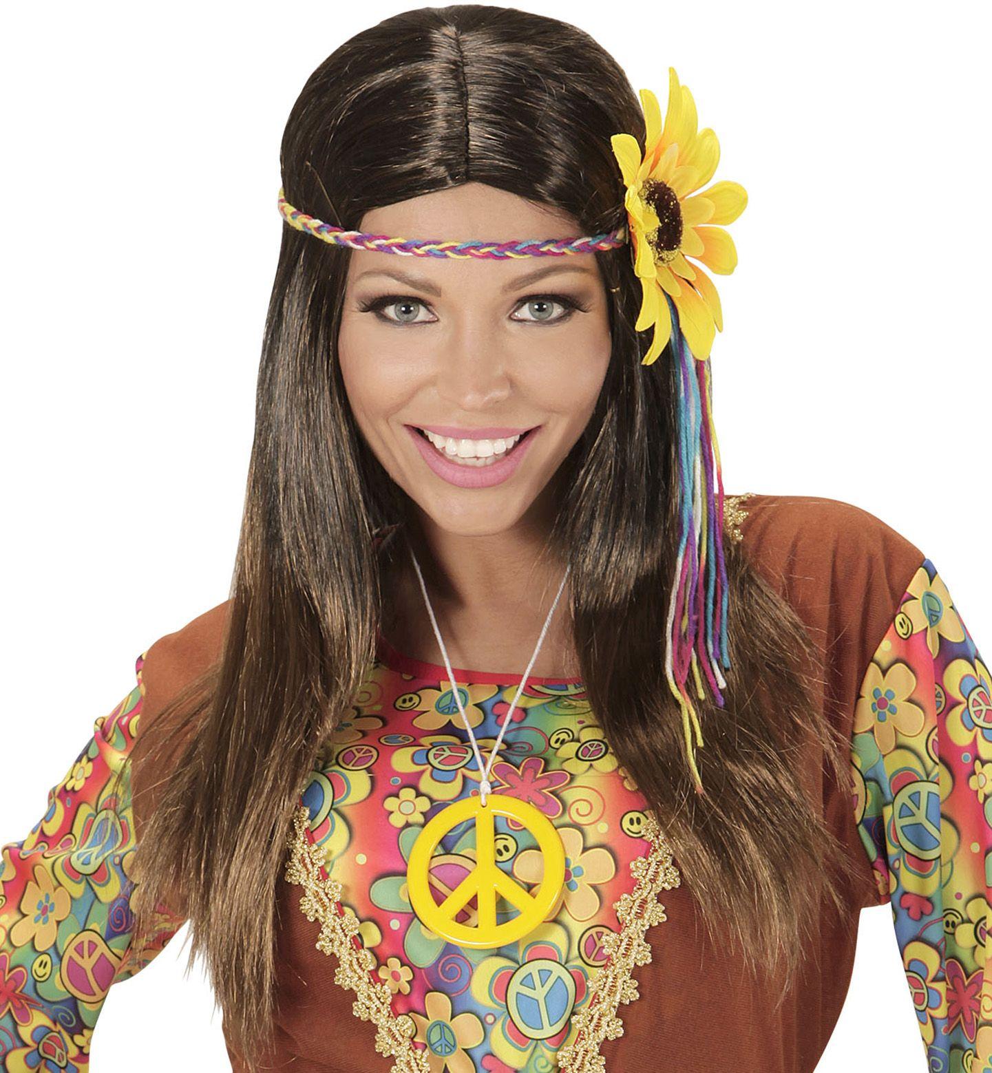 Bruine hippie pruik met zonnebloem hoofdband