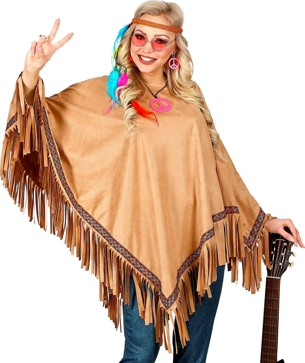 Bruine hippie suede poncho