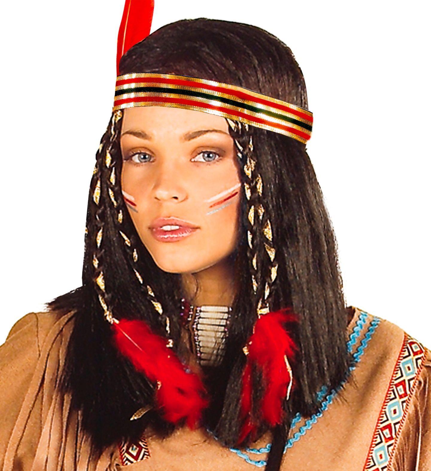 Bruine indianen pruik
