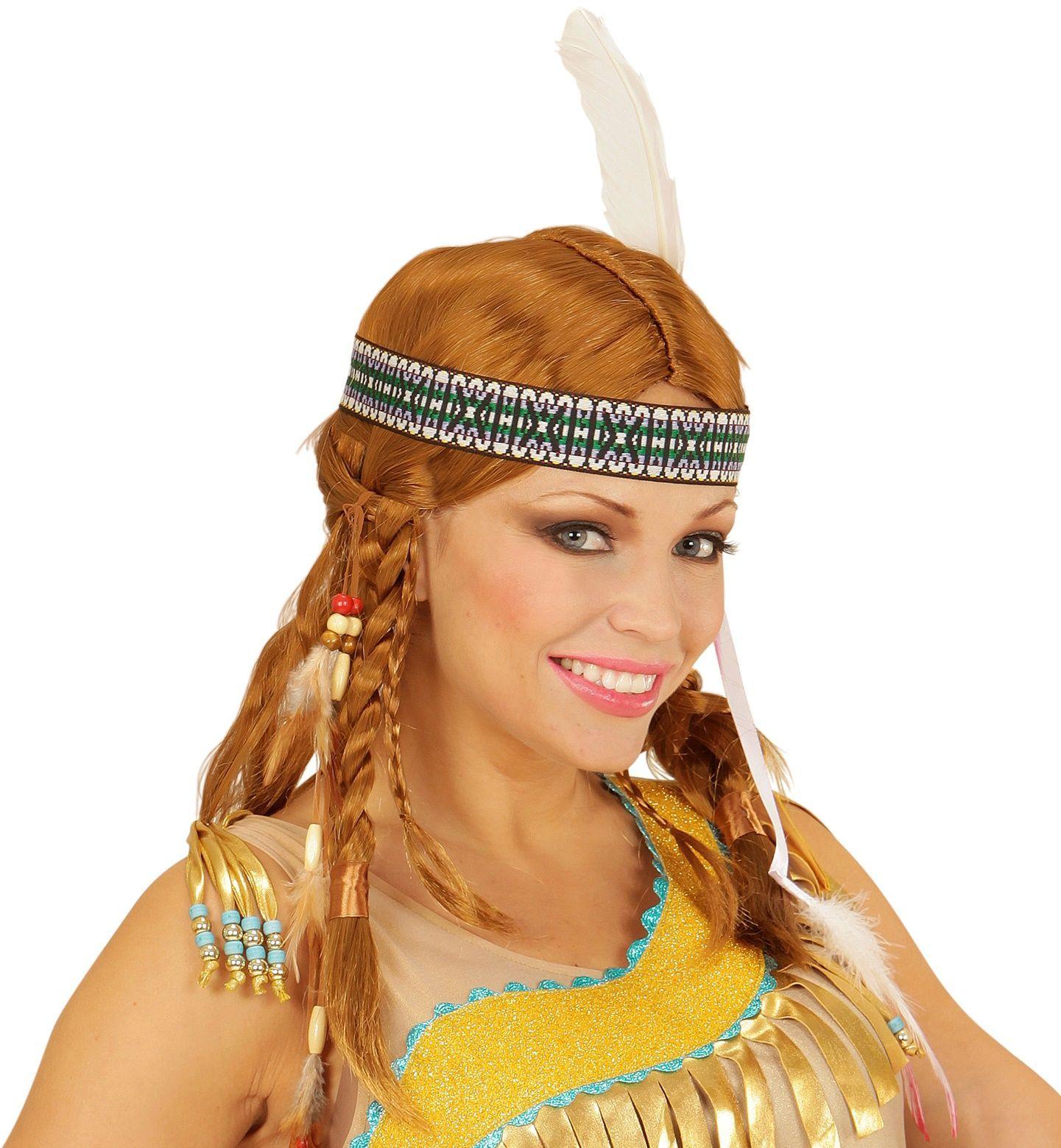 Bruine indianen pruik met hoofdband en veer