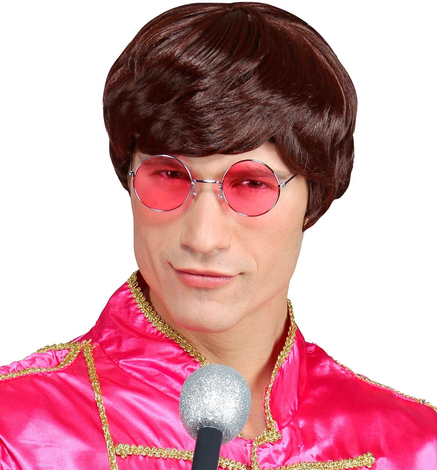 Bruine John Lennon pruik