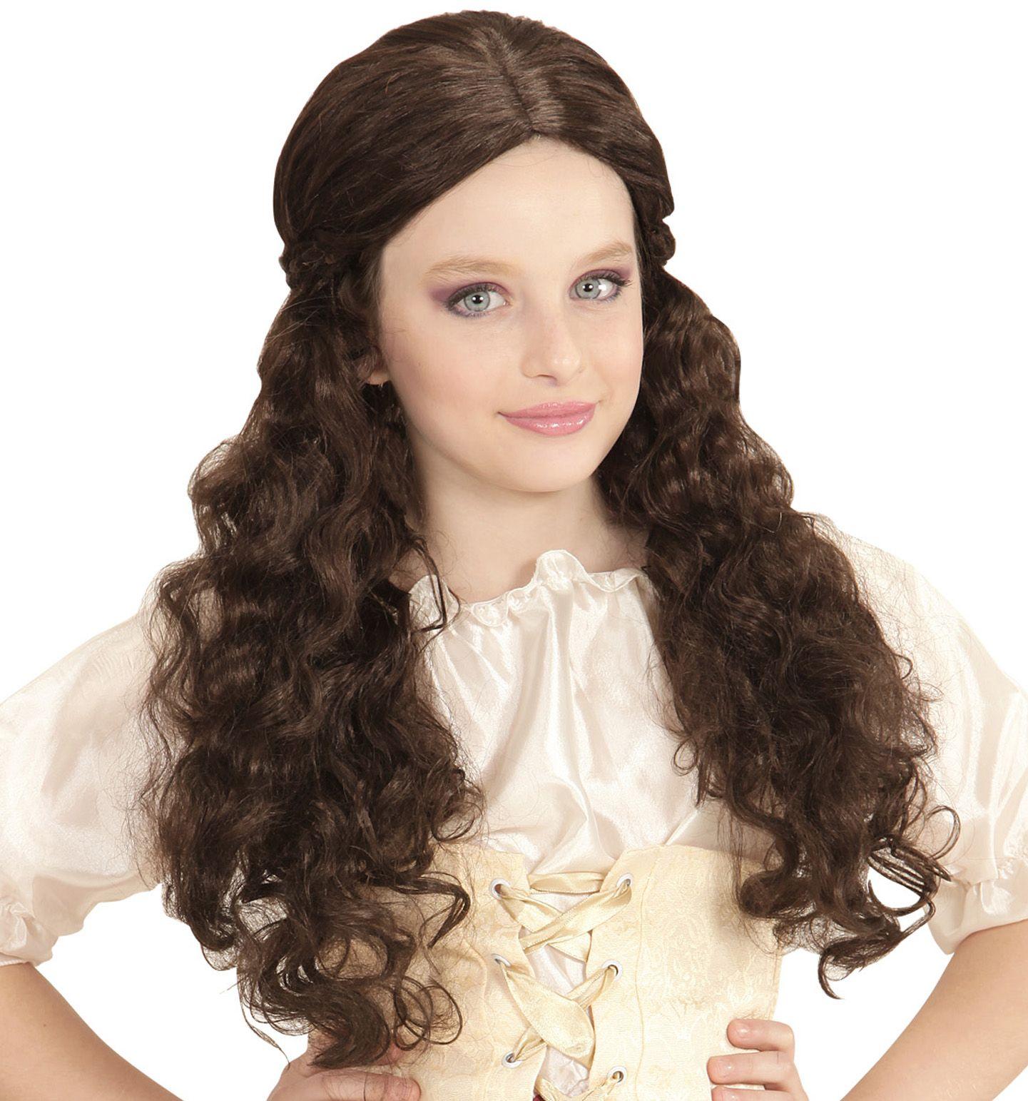 Bruine middeleeuwse meisjes pruik