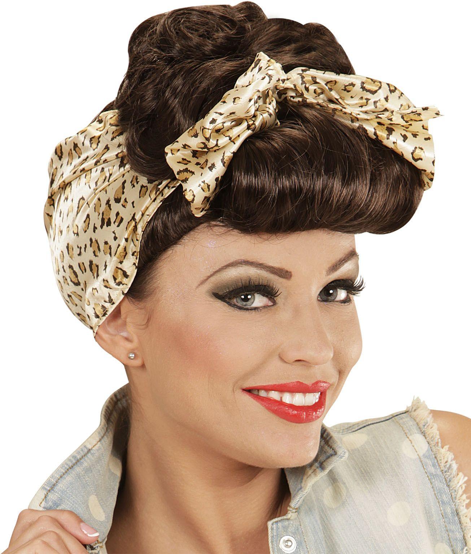 Bruine pin-up pruik met hoofddoek