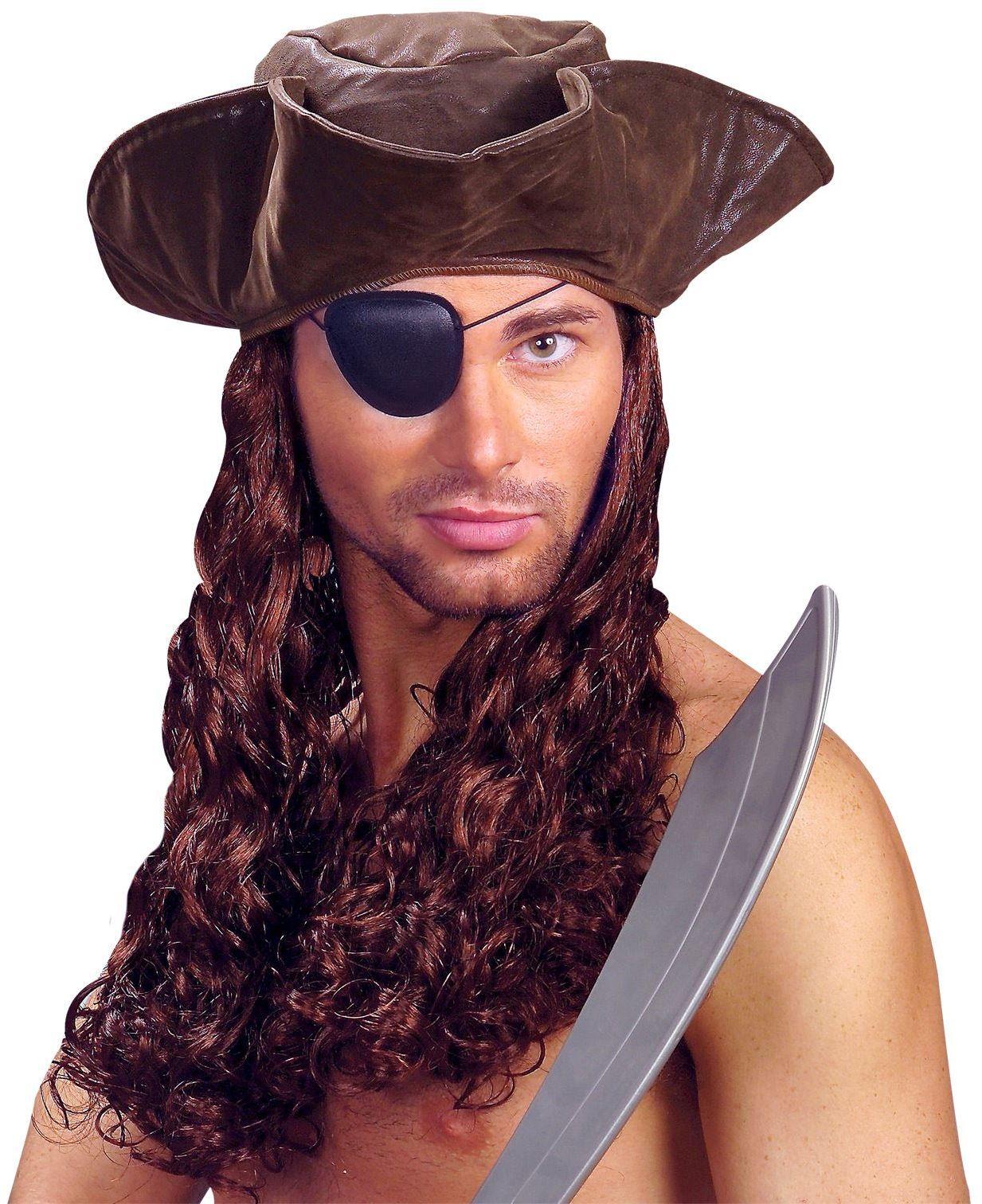 Bruine piraten hoed met pruik