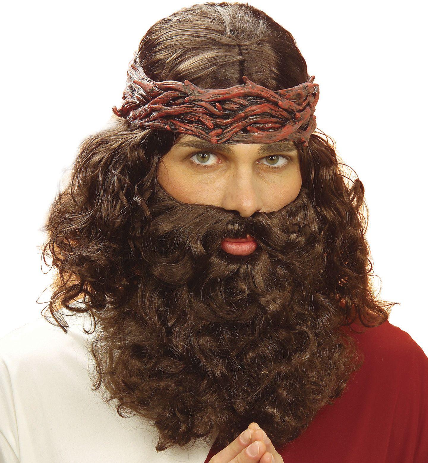 Bruine profeet pruik met baard