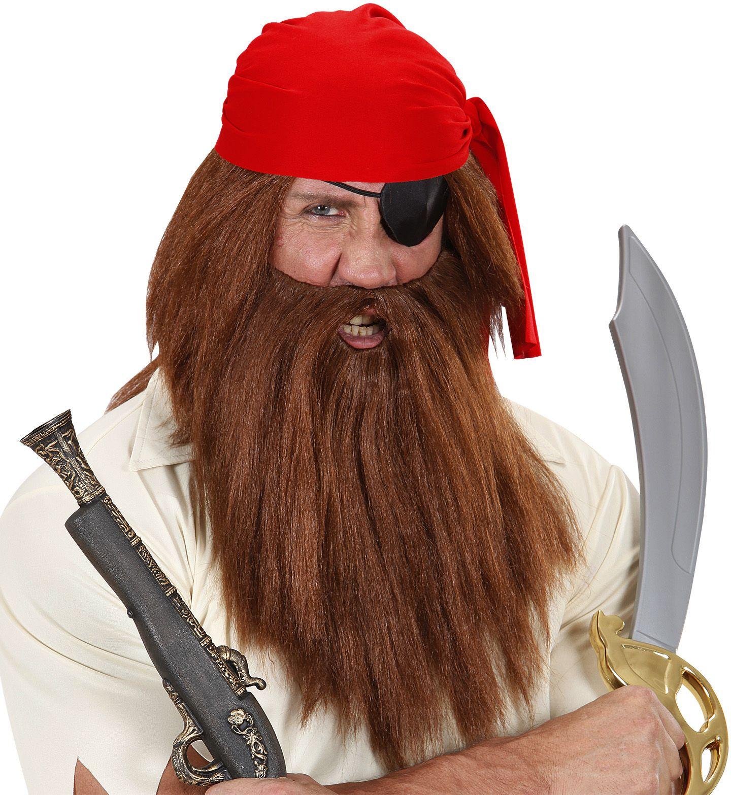 Bruine pruik inclusief baard