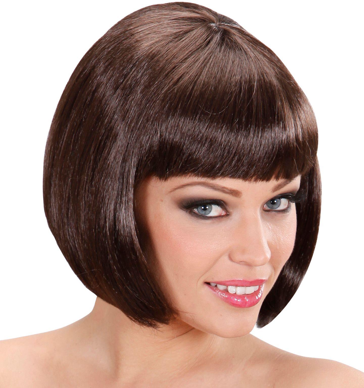 Bruine pruik kort haar