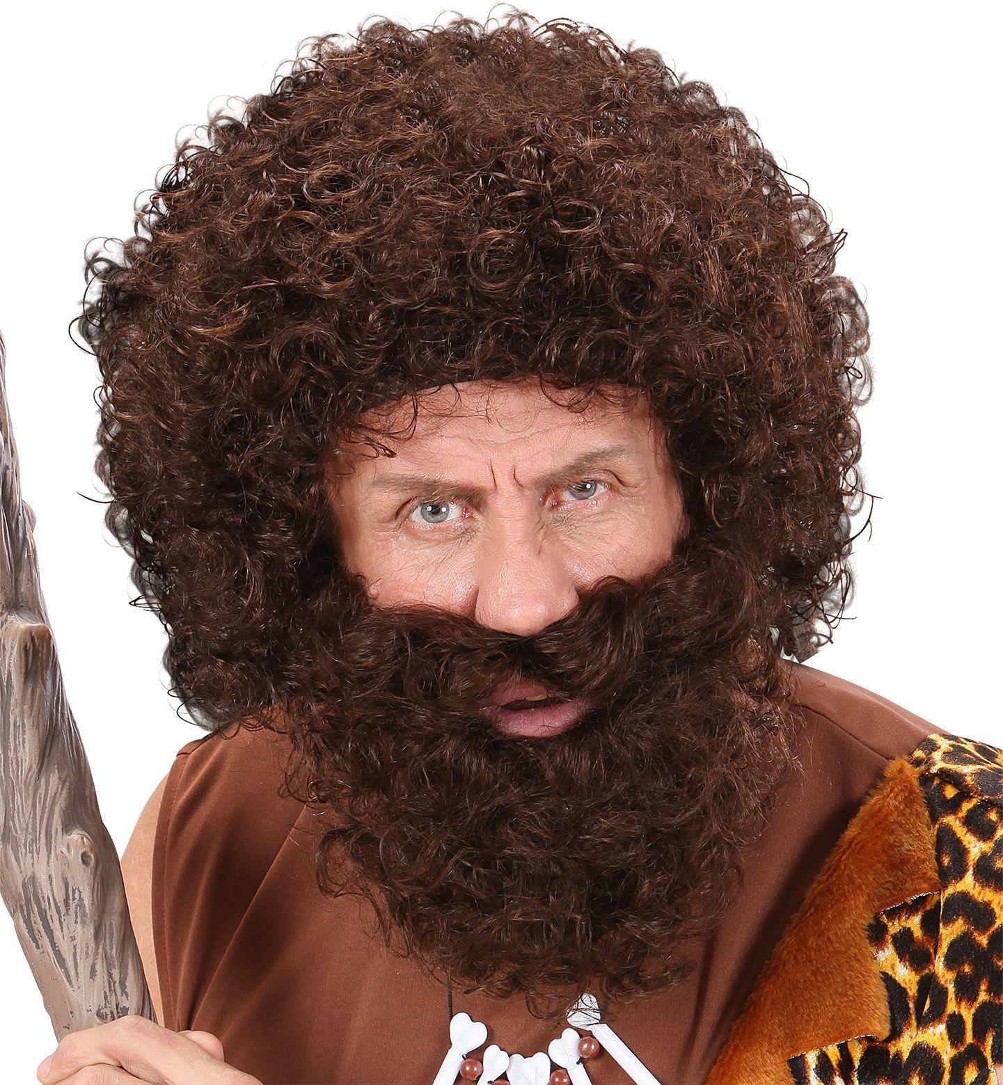 Bruine pruik met baard en snor