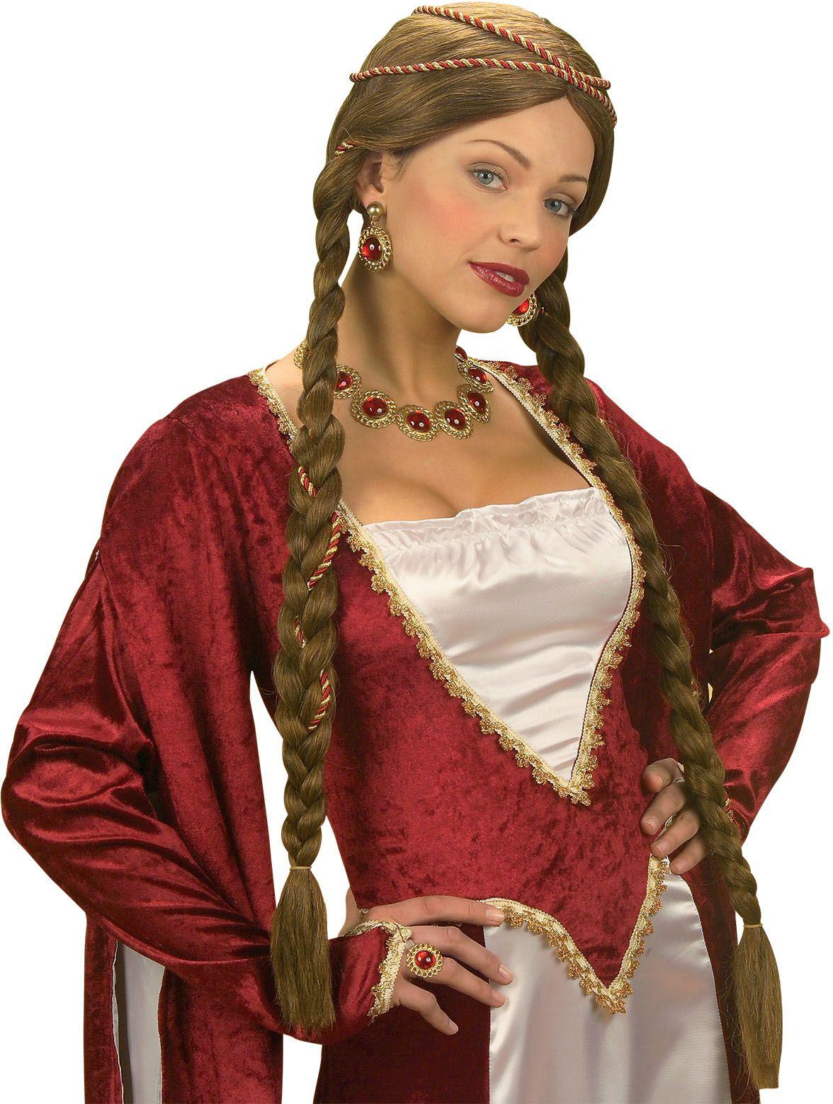 Bruine renaissance koningin pruik
