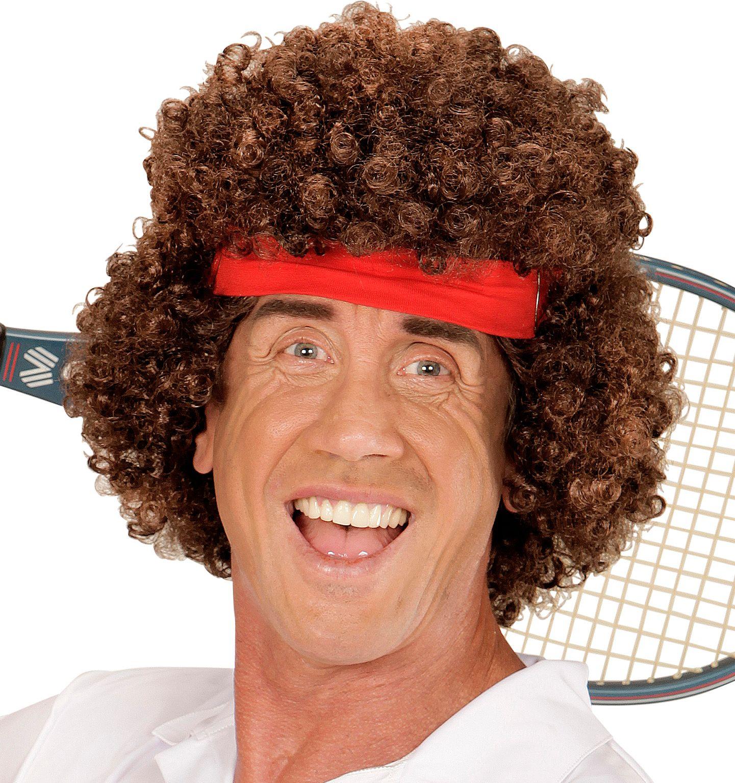 Bruine tennis speler pruik