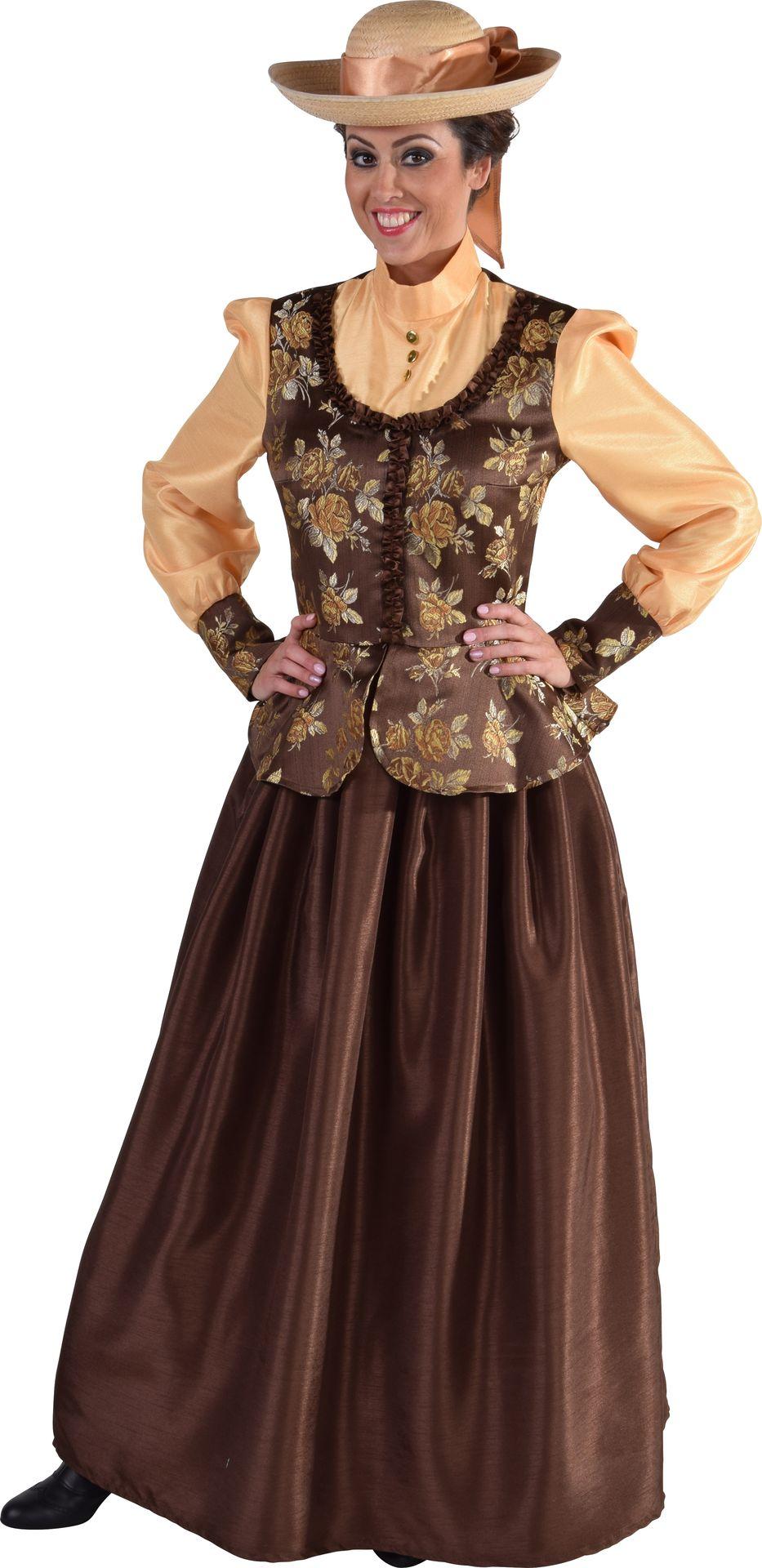 Bruine Victoriaanse jurk vrouwen