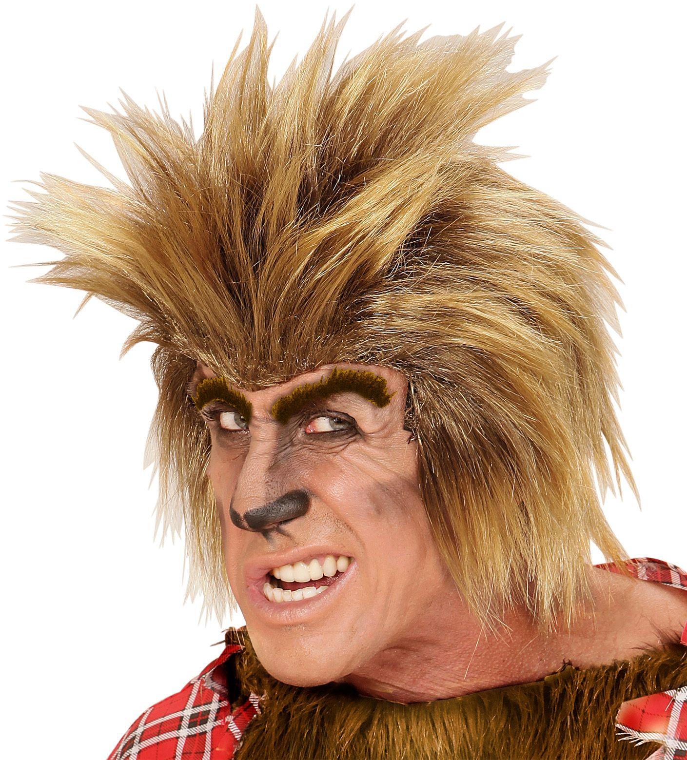 Bruine weerwolf pruik
