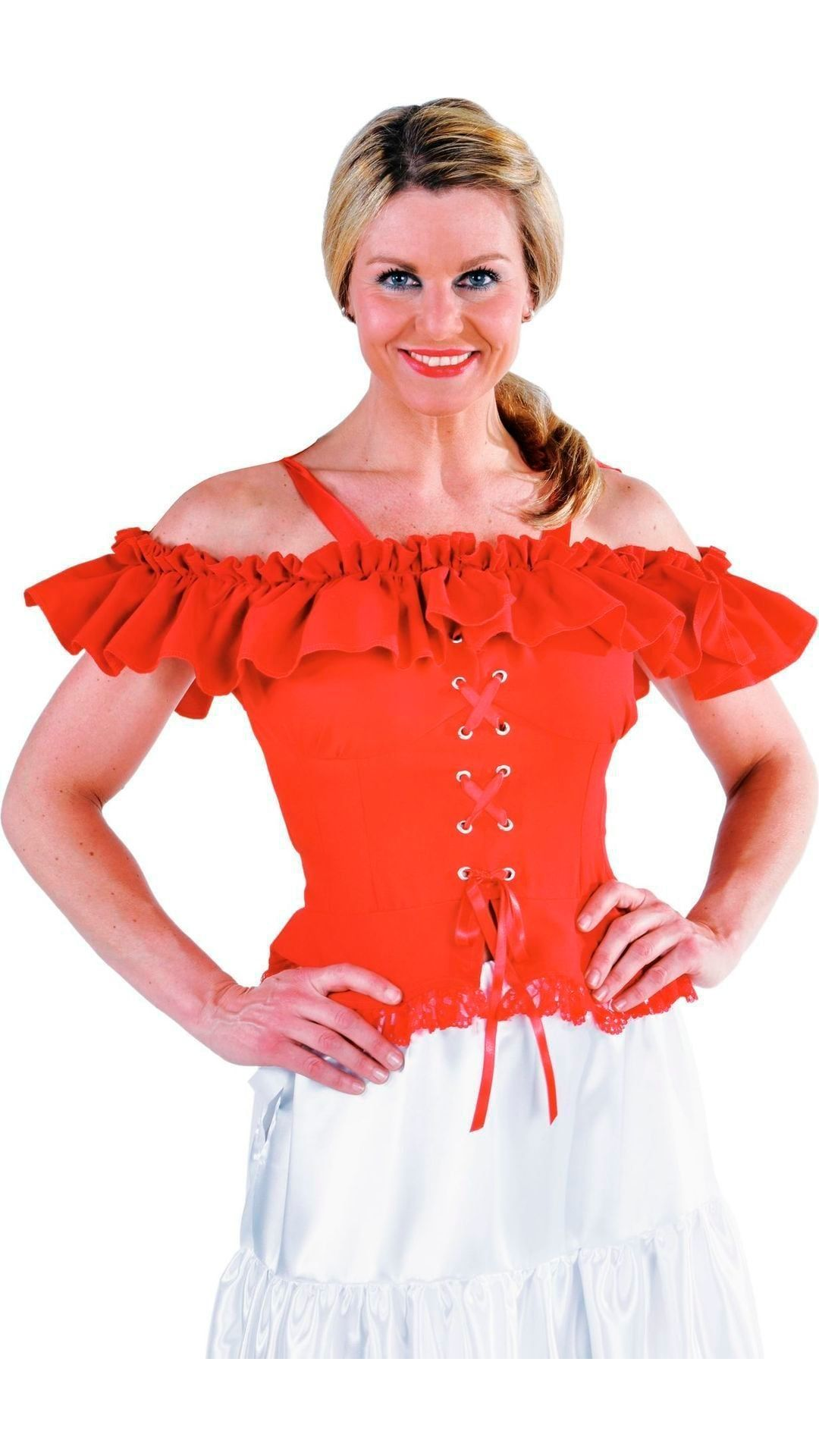 Carmen blouse rood dames