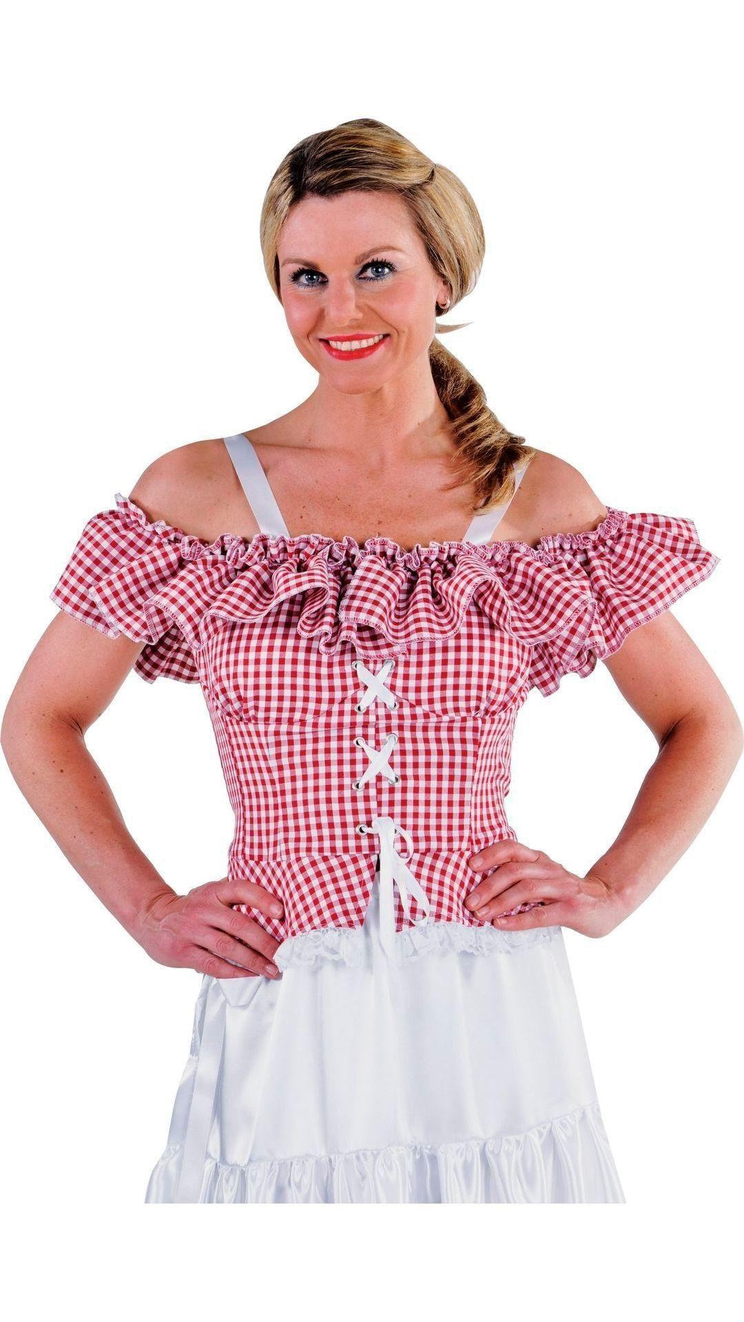 Carmen blouse rood-wit dames