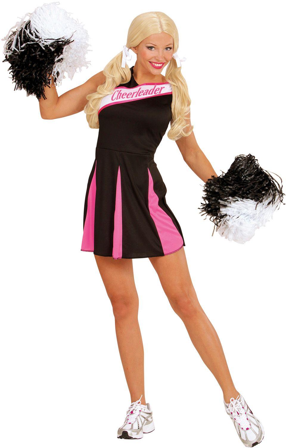 Cheerleader jurkje zwart roze