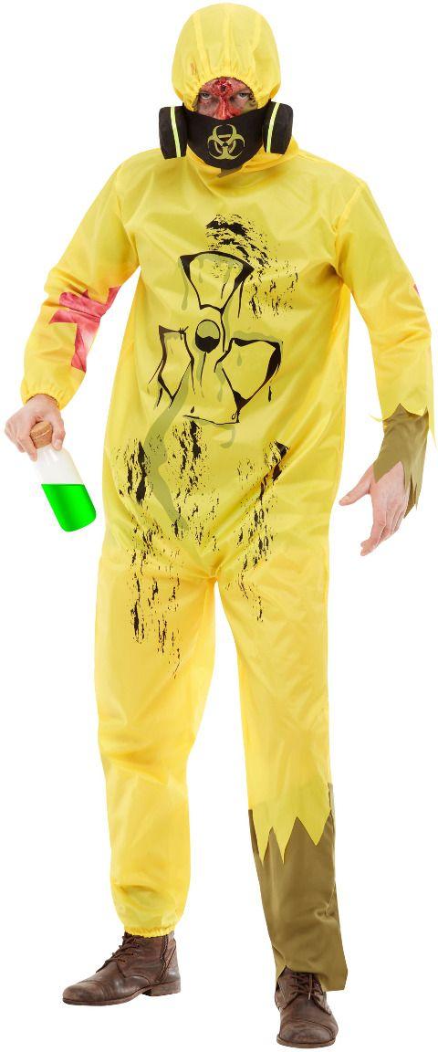Chemische uitbraak gele kostuum