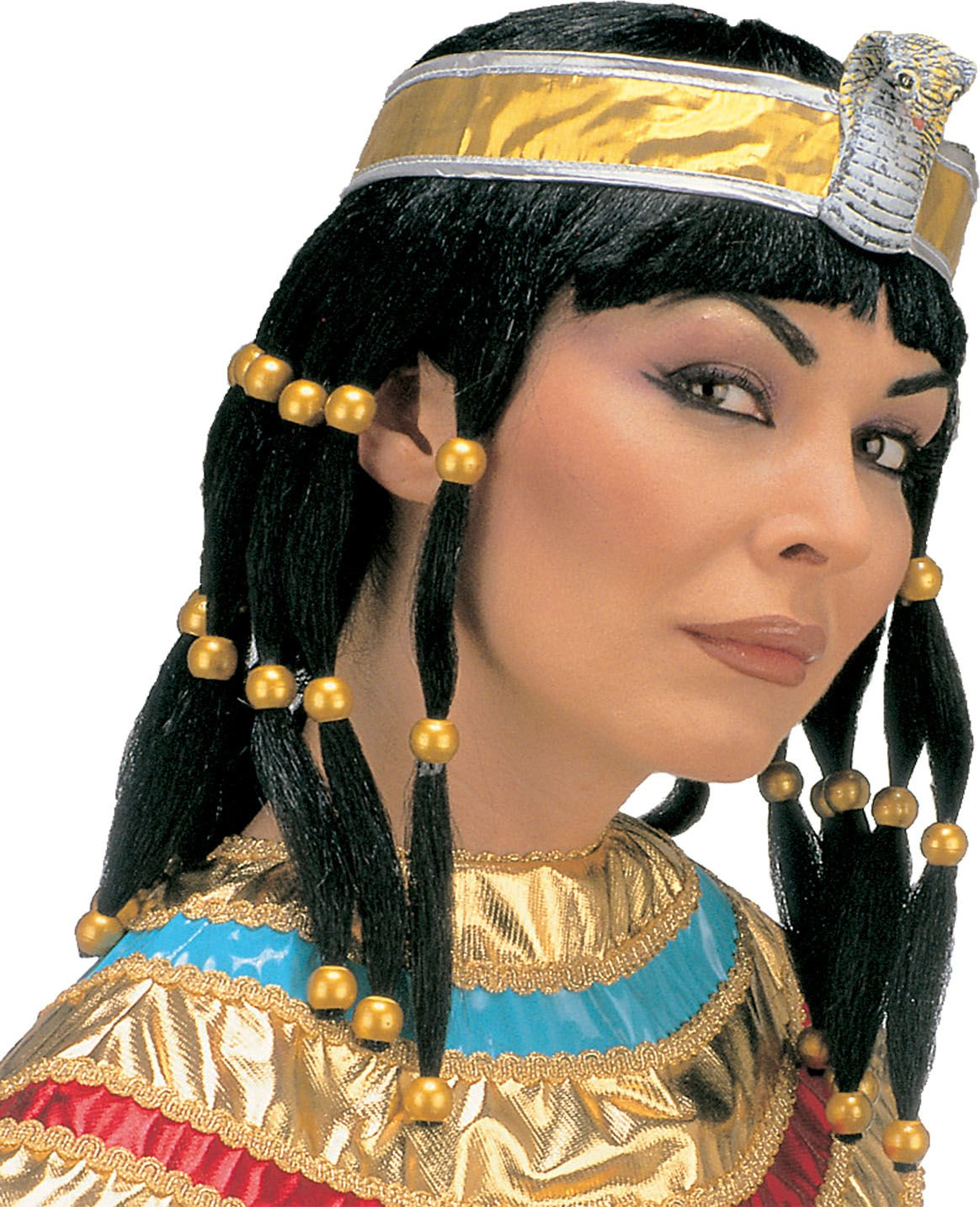 Cleopatra pruik met hoofdband en kraag