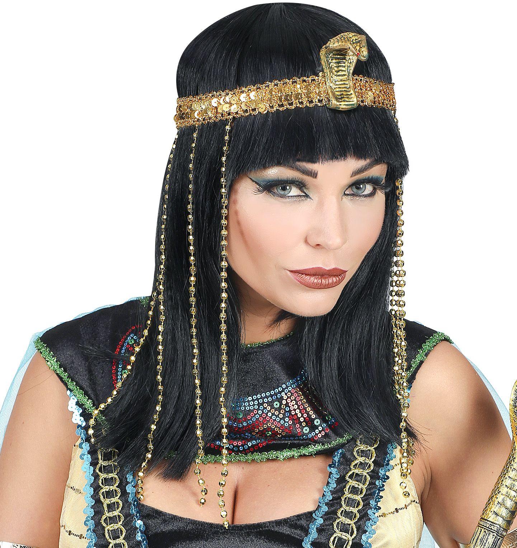 Cleopatra pruik zwart met haarband vrouwen