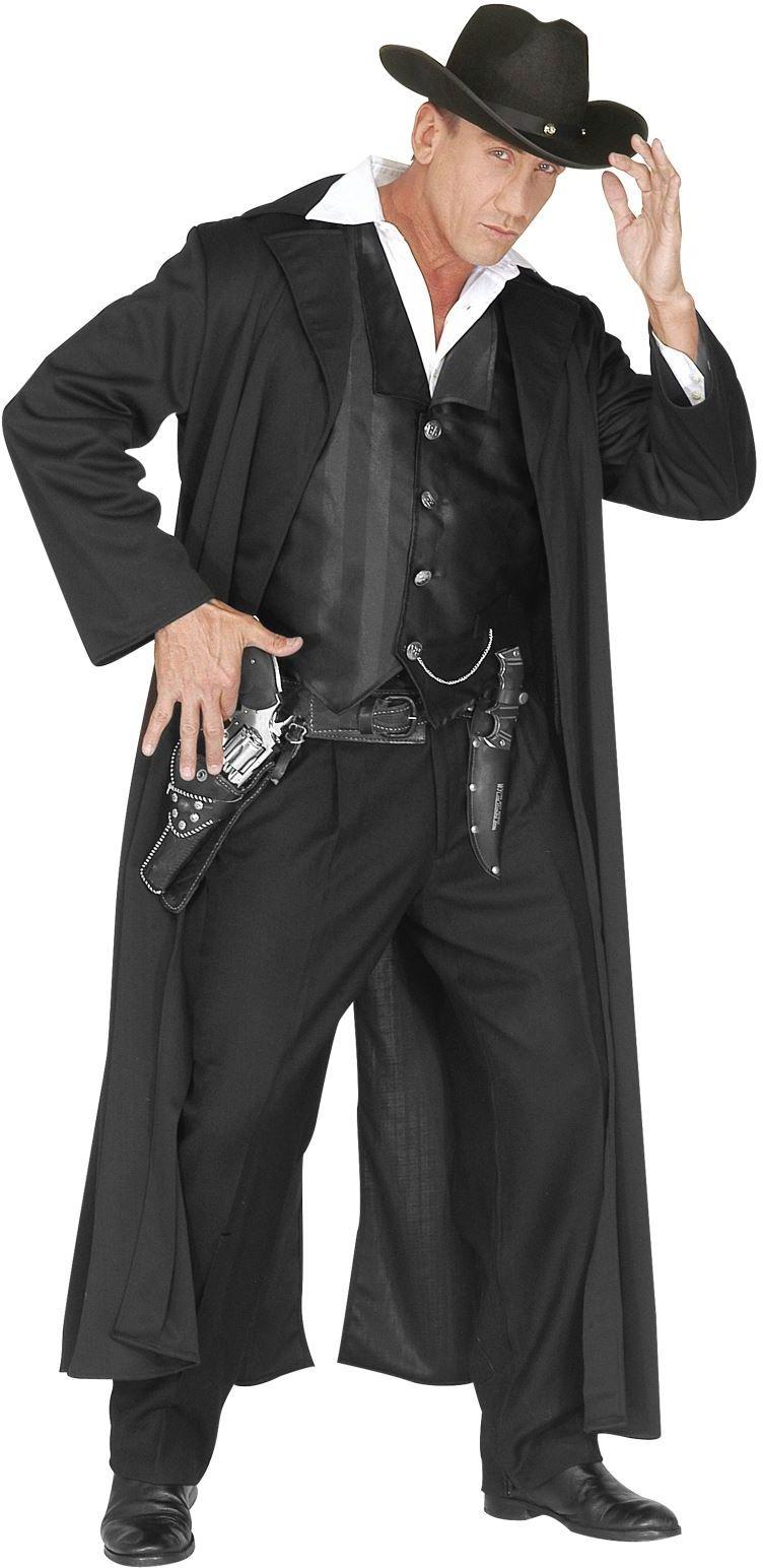 Coole cowboy zwart, kostuum heer