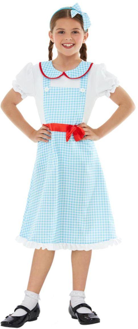 Country girl blauwe meisjes jurk