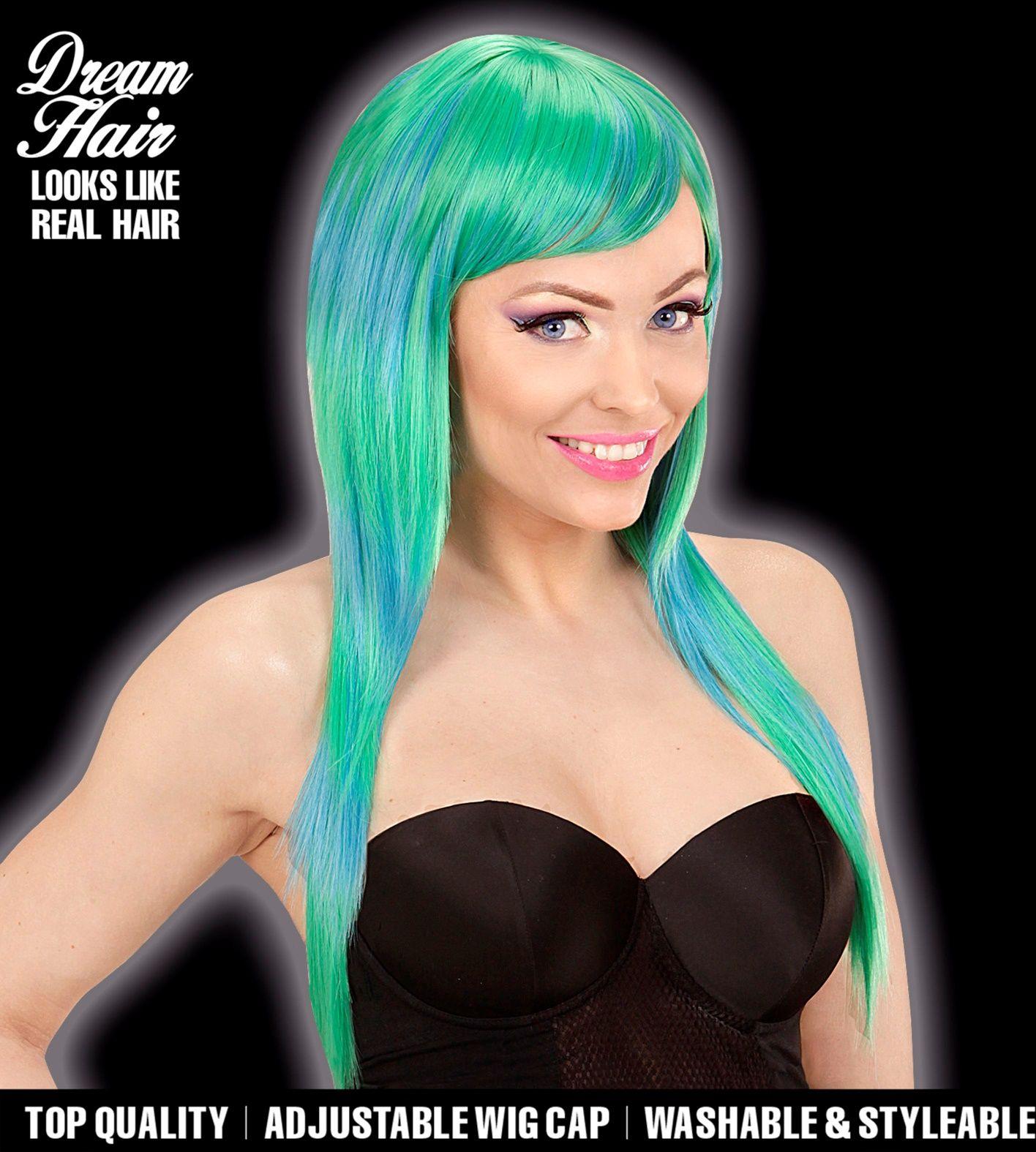 Dames pruik groen blauw