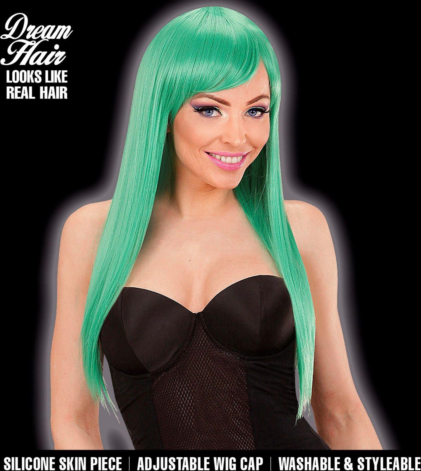 Dames pruik lange haren groen