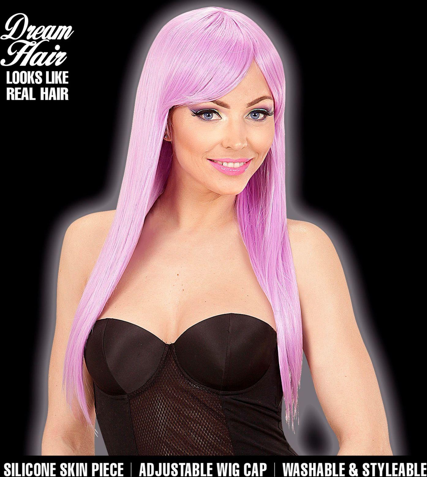 Dames pruik lange haren paars