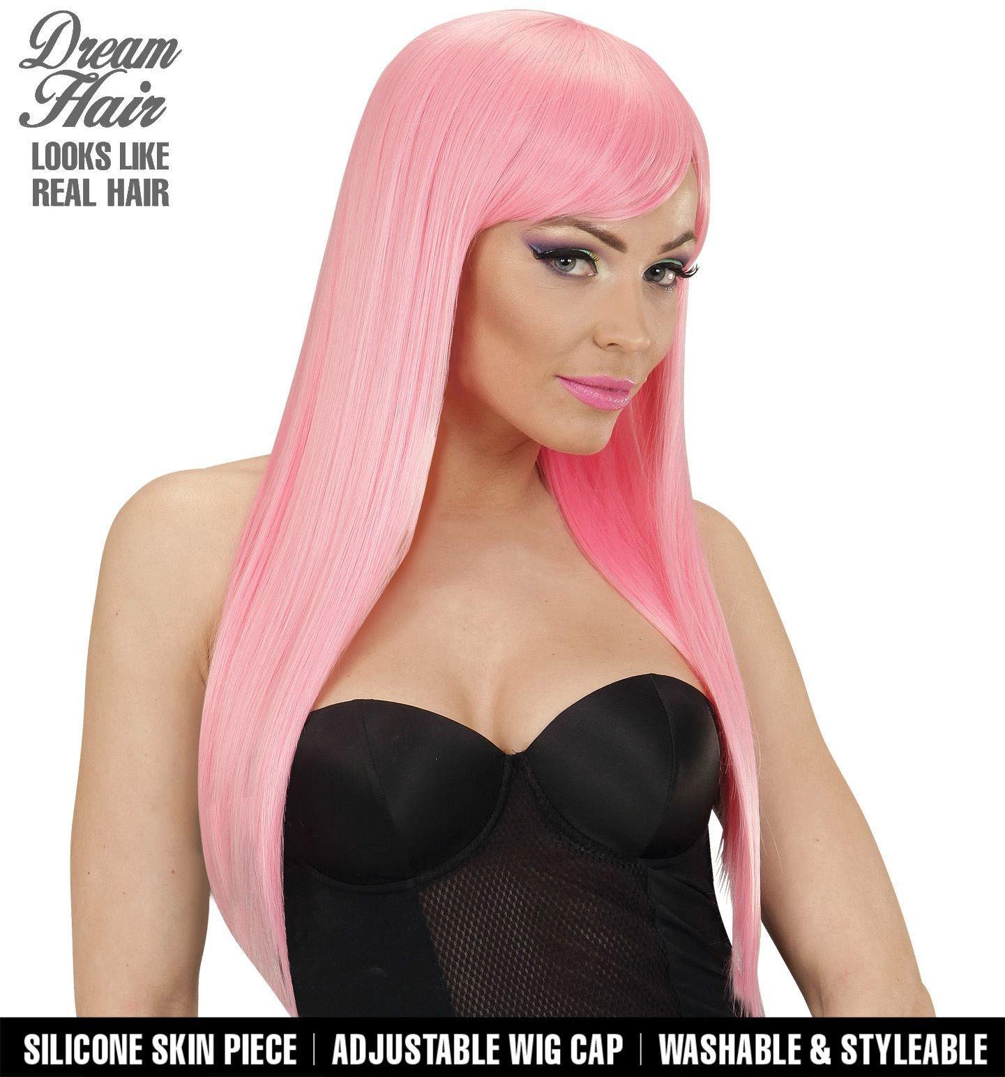 Dames pruik lange haren roze