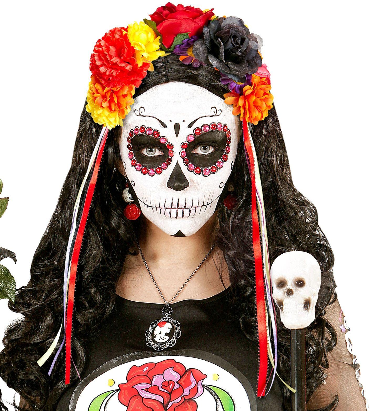Dia de los muertos bloemen haarband