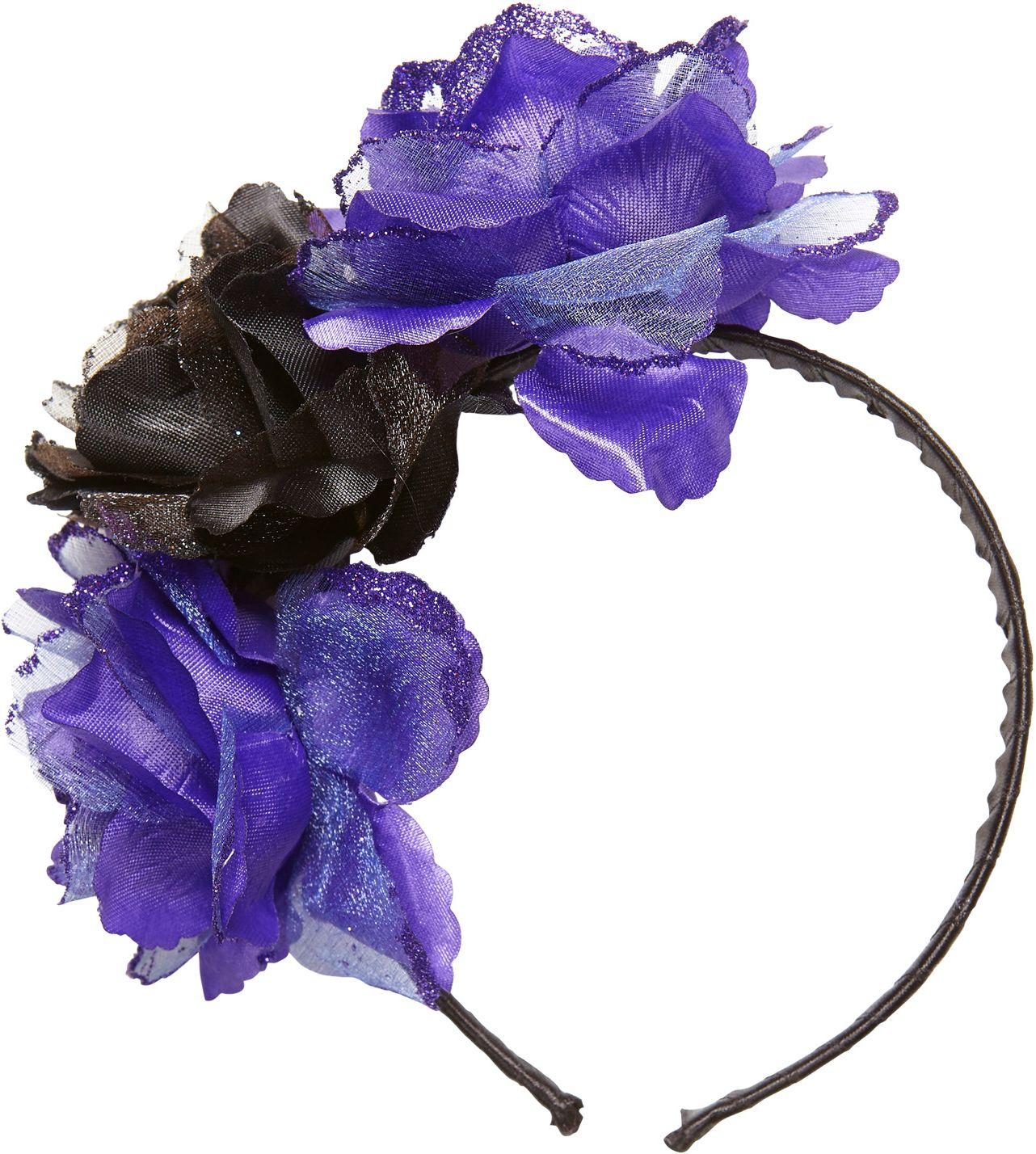 Dia de los muertos hoofdband met paars-zwarte rozen