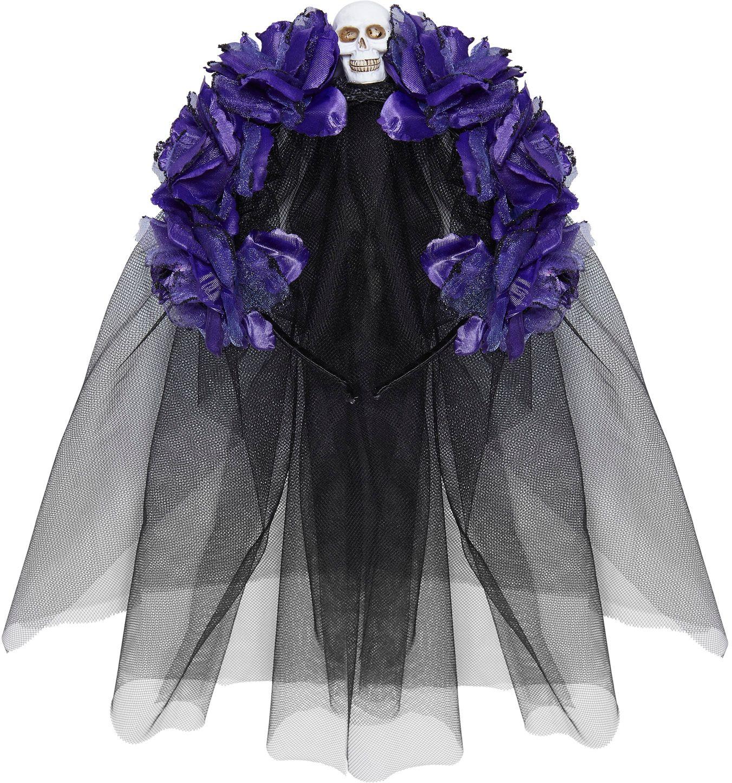 Dia de los muertos hoofdband met paarse rozen