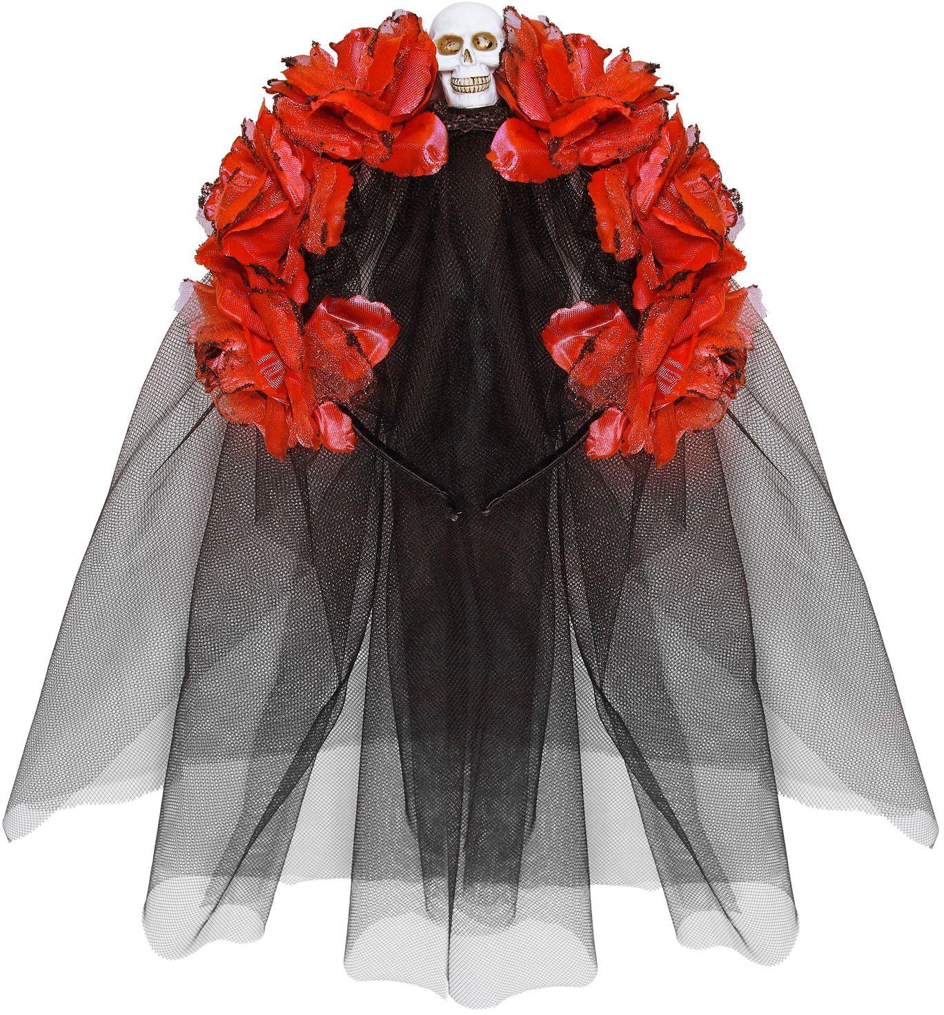 Dia de los muertos hoofdband met rode rozen