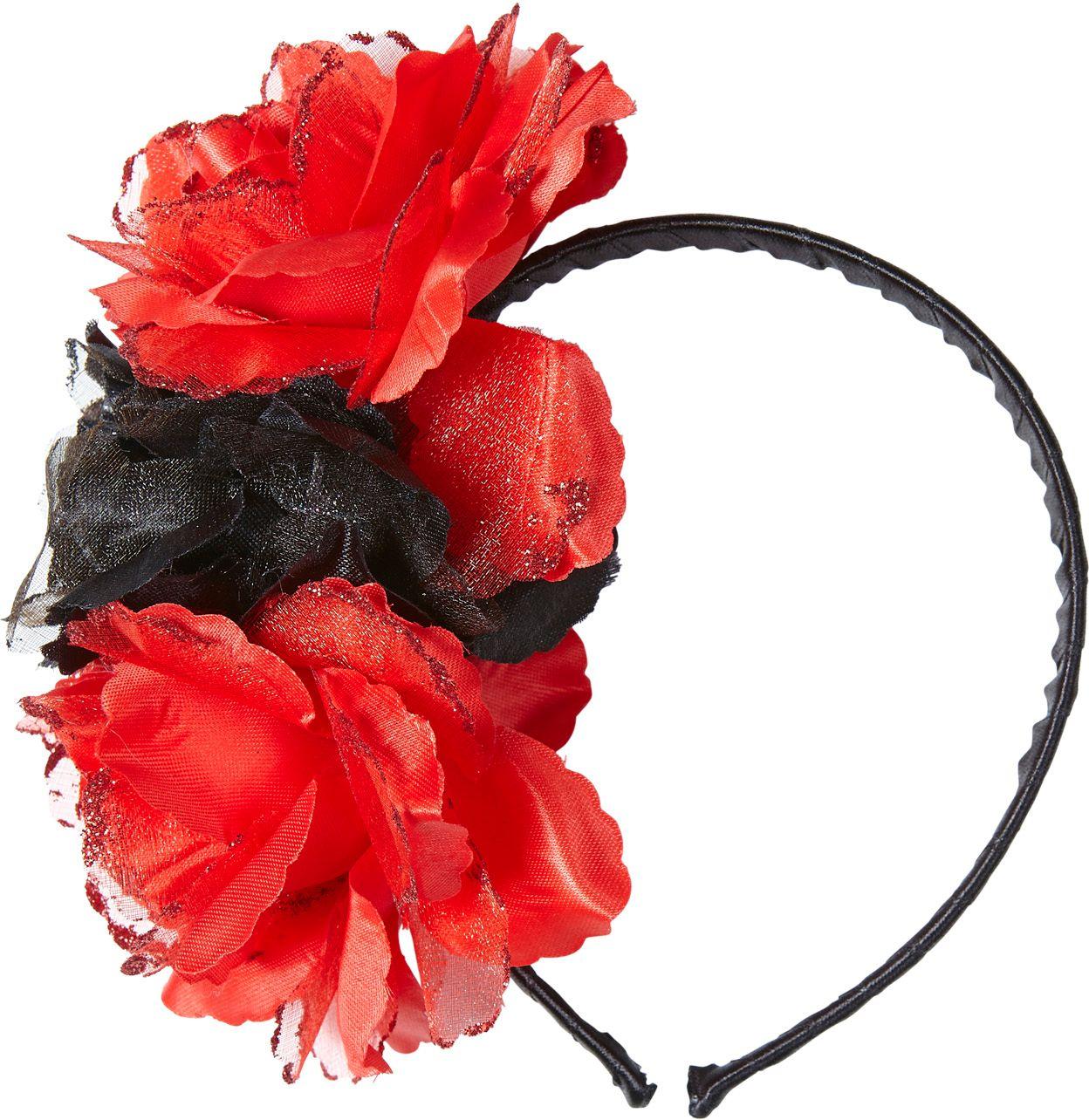 Dia de los muertos hoofdband met rood-zwarte rozen