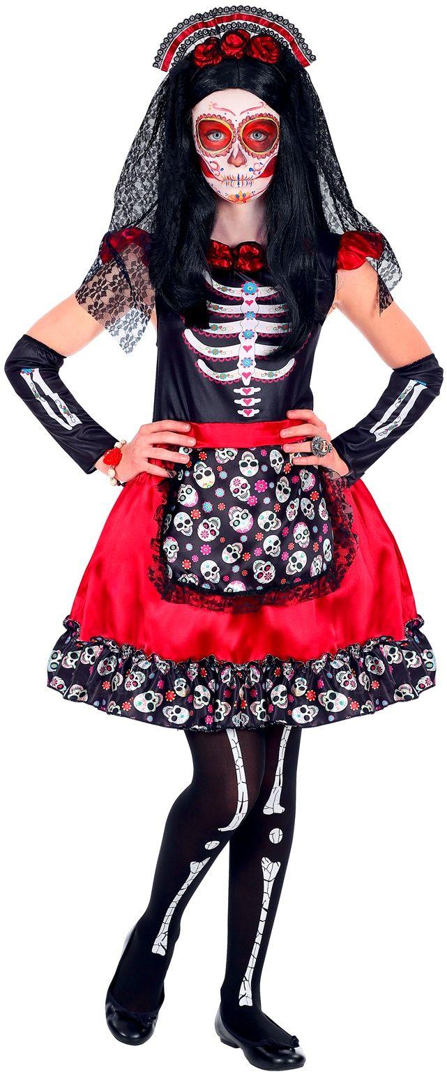 Dia de los muertos jurkje rood meisje