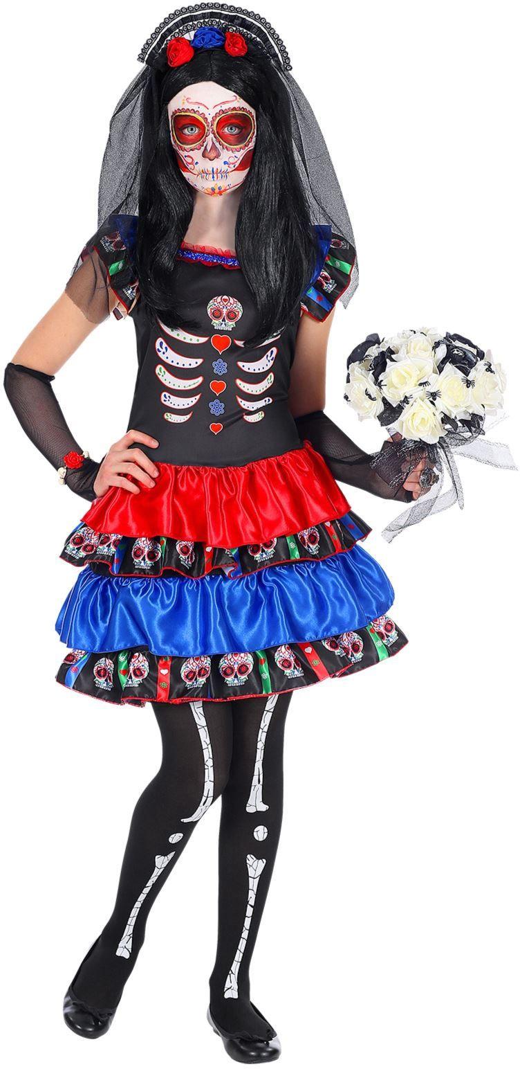 Dia de los muertos jurkje zwart meisje