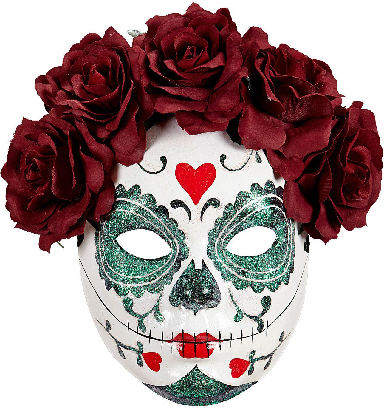 Dia de los muertos masker met bordeauxrode rozen