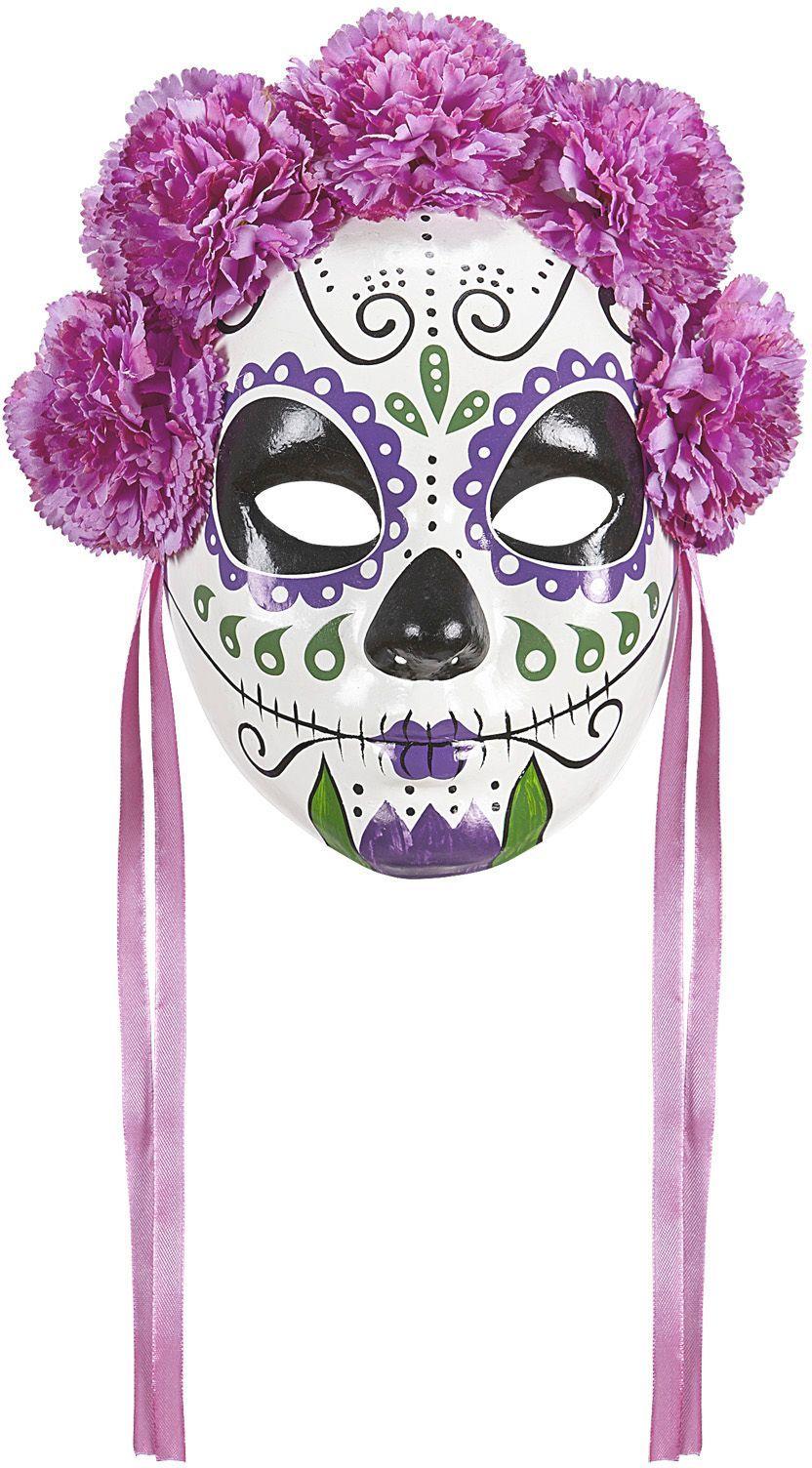 Dia de los muertos masker met paarse rozen