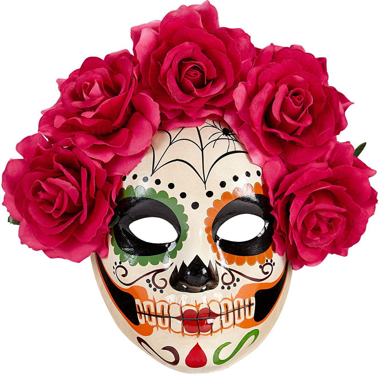 Dia de los muertos masker met rode rozen
