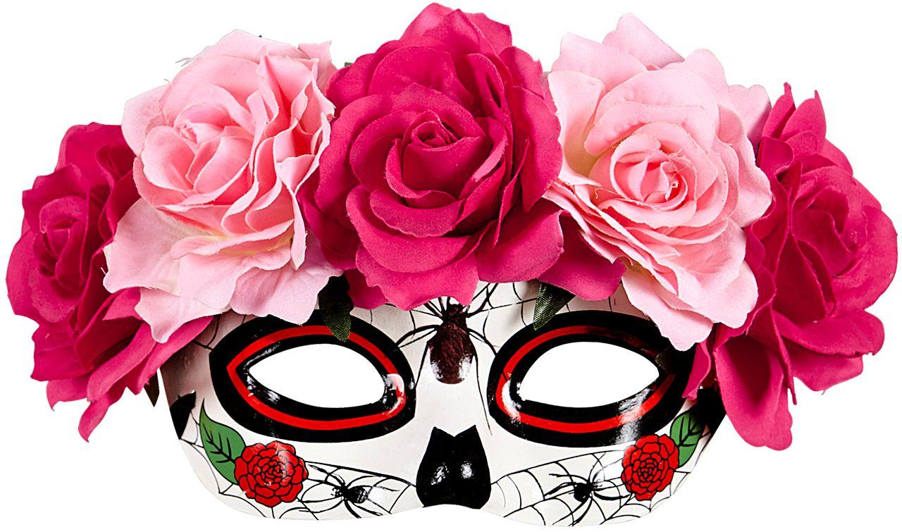 Dia de los muertos oogmasker met rozen
