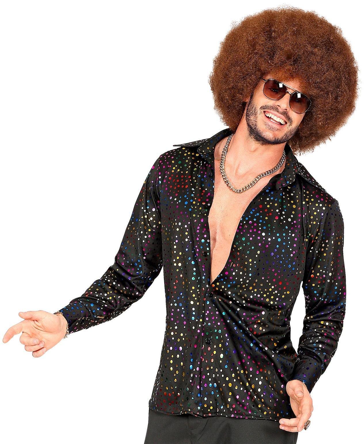 Disco blouse heren glitter