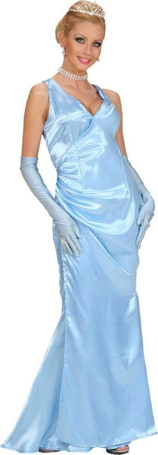 Diva kostuum, satijn blauw