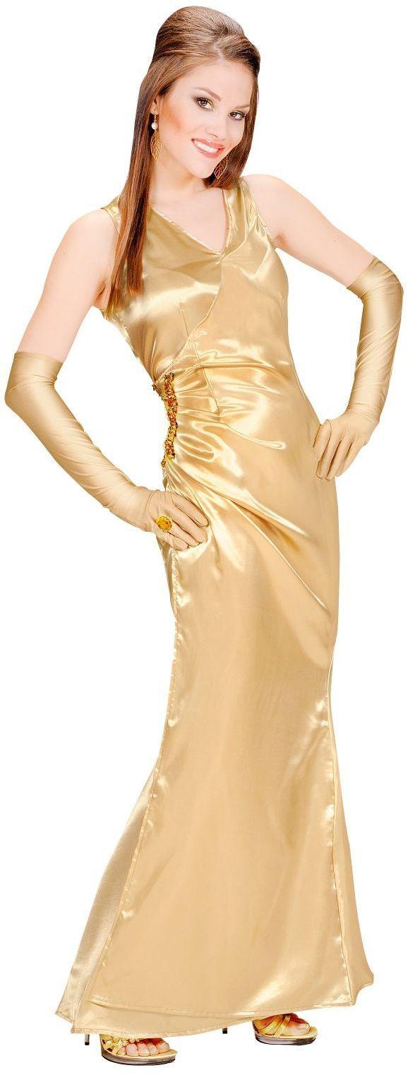 Diva kostuum, satijn goud