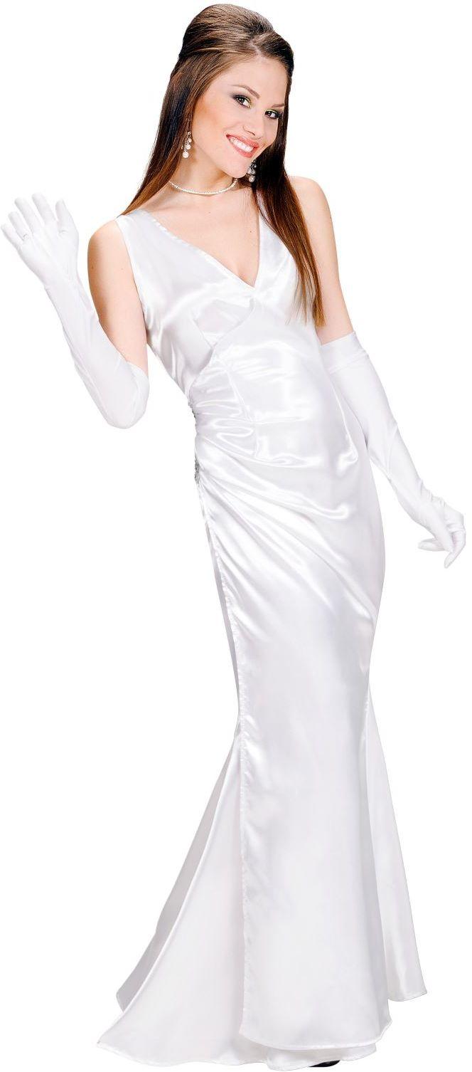 Diva kostuum, satijn wit