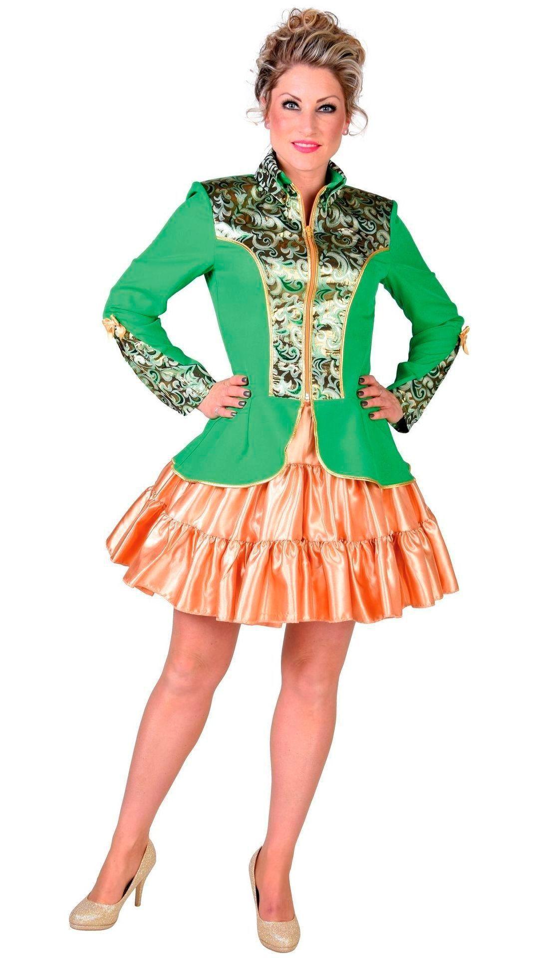 Donker groene carnavalsjas vrouw