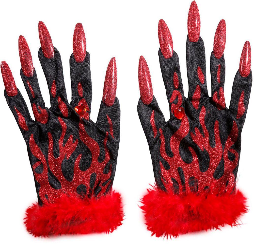 Duivel glitter handschoenen
