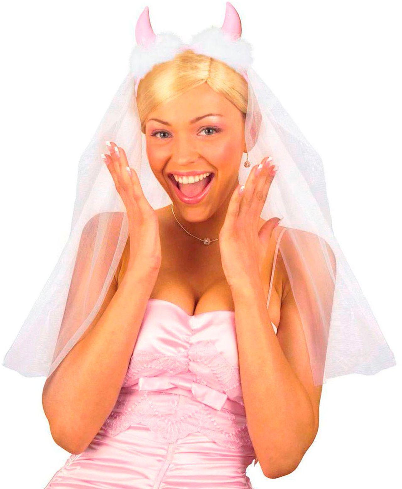 Duivel haarband met bruidssluier