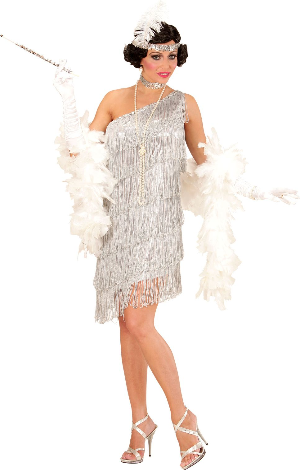Elegante flapper jurk zilver