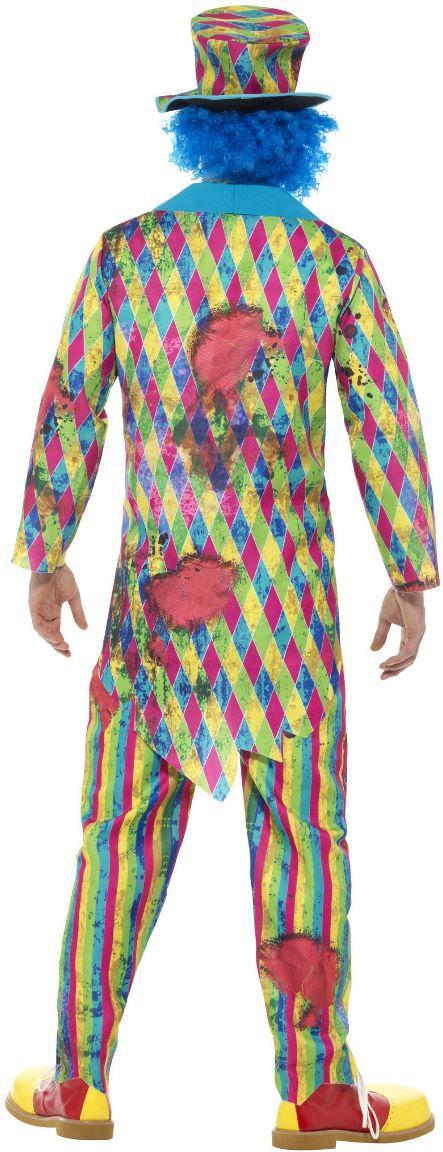 Enge clown lappenstof kostuum