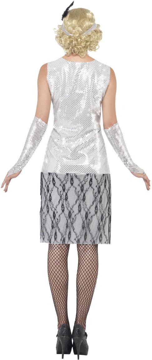 Flapper kostuum dames zilver